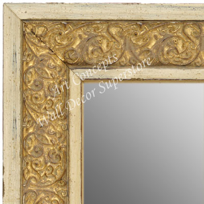 Mr1648 3 Distressed Ivory White And Gold Extra Large Custom Framed Wall Mirror Leaning Floor Mirrors Bathroom