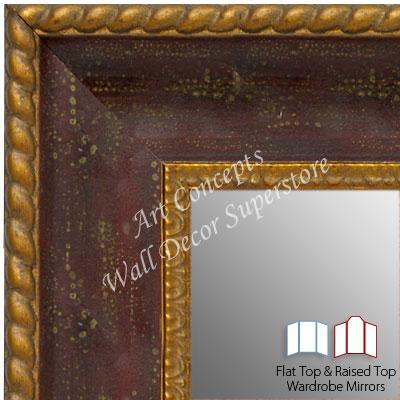 Wm1643 1 Distressed Red With Gold Custom 3 Panel Dressing Room Mirror Wm11l