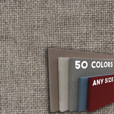 FW800-02 Cement Grey Frameless Fabric Wrap Cork Bulletin Board - Classic Hook And Loop Velcro