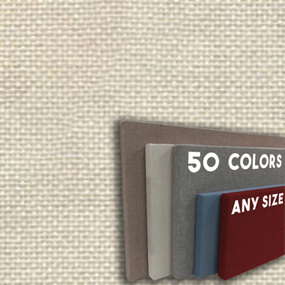 FW800-06 CHALK - Frameless Fabric Wrap Cork Bulletin Board - Classic Hook And Loop Velcro
