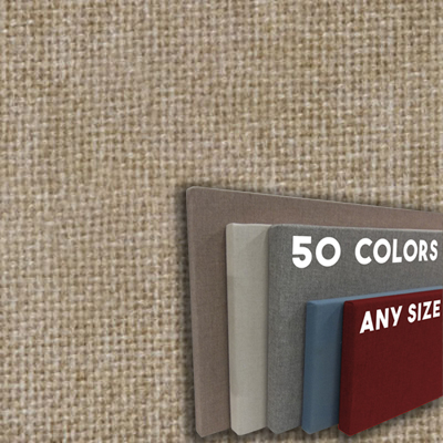 FW800-10 SAND - Frameless Fabric Wrap Cork Bulletin Board - Classic Hook And Loop Velcro