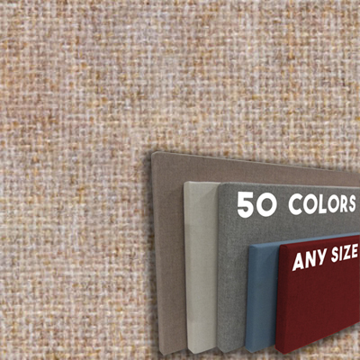 FW800-12 APRICOT  - Frameless Fabric Wrap Cork Bulletin Board - Classic Hook And Loop Velcro