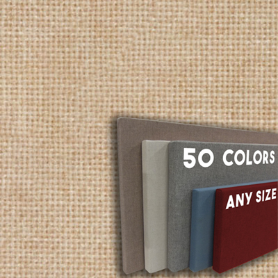 FW800-14 NUDE - Frameless Fabric Wrap Cork Bulletin Board - Classic Hook And Loop Velcro