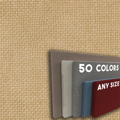 FW800-20 LIGHT STRAW - Frameless Fabric Wrap Cork Bulletin Board - Classic Hook And Loop Velcro
