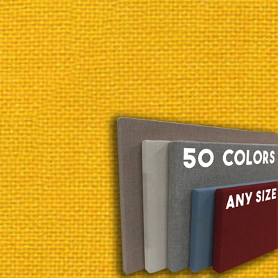 FW800-21 SUNSHINE YELLOW - Frameless Fabric Wrap Cork Bulletin Board - Classic Hook And Loop Velcro