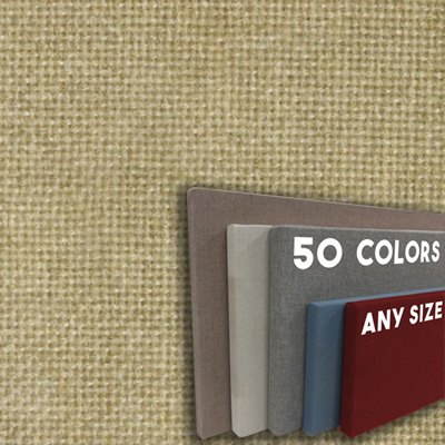 FW800-30 Light Sand Dune Frameless Fabric Wrap Cork Bulletin Board - Classic Hook And Loop Velcro