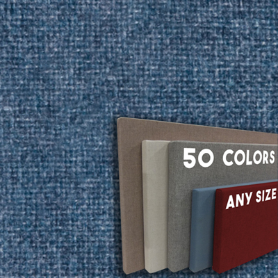 FW800-43 Wedgewood Blue Frameless Fabric Wrap Cork Bulletin Board - Classic Hook And Loop Velcro