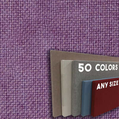 FW800-47 Purple Frameless Fabric Wrap Cork Bulletin Board - Classic Hook And Loop Velcro