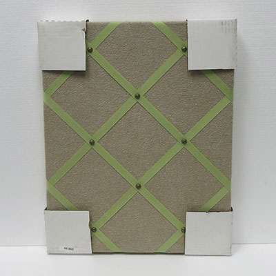 WSFW-247 Oatmeal Fabric / Green Ribbon 16 X 20 Frameless Fabric Wrapped Cork