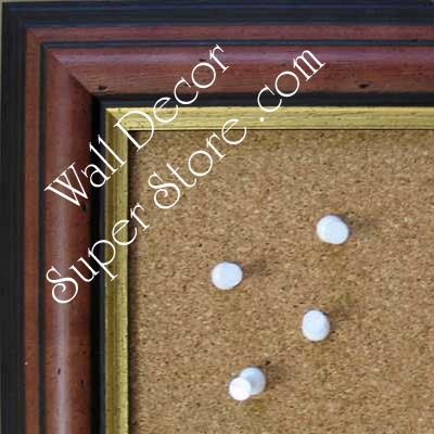BB135-1 Distressed Walnut With Gold Insert Medium To Extra Large Custom Cork Chalk Or Dry Erase Board