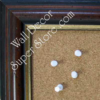 BB136-1 Distressed Espresso Brown Walnut With Gold Medium To Extra Large Custom Cork Chalk Or Dry Erase Board