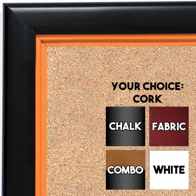 BB1401-5 Black With Orange Lip Custom Cork Chalk or Dry Erase Board Medium To Large