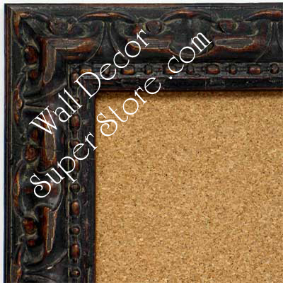 BB1411-3 Ornate Distressed Antique Brown Medium To Extra Large Custom Cork Chalk Or Dry Erase Board