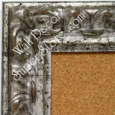 BB1416-1 Distressed Silver Medium To Extra Large Custom Cork Chalk Or Dry Erase Board