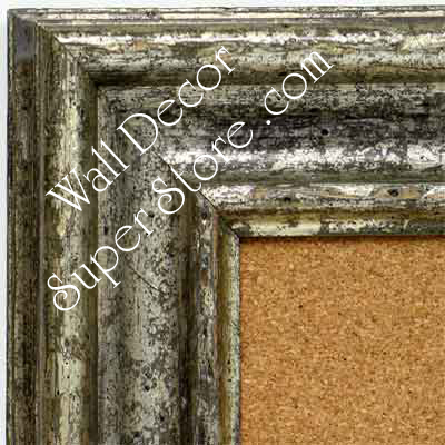 BB1418-1 Distressed Silver Medium To Extra Large Custom Cork Chalk Or Dry Erase Board