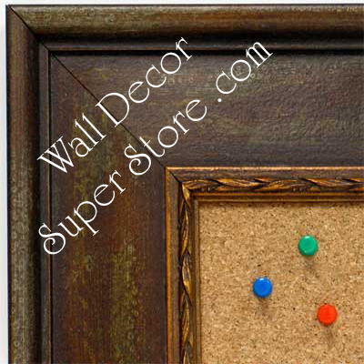 BB1422-2 Distressed Brown With Stencil Design  Medium To Extra Large Custom Cork Chalk Or Dry Erase Board