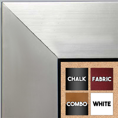 BB1431-2 Brushed Silver With Black Medium To Extra Large Custom Cork Chalk Or Dry Erase Board