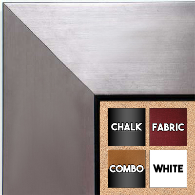 BB1431-4 Brushed Pewter With Black Medium To Extra Large Custom Cork Chalk Or Dry Erase Board