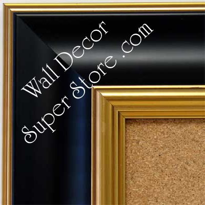 BB1453-4 Smooth  Black With Gold Trim  Medium To Extra Large Custom Cork Chalk Or Dry Erase Board