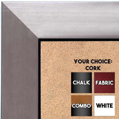BB1494-4 Brushed Pewter With Black Medium To Extra Large Custom Cork Chalk Or Dry Erase Board