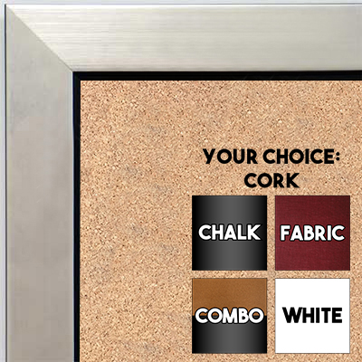 BB1495-2 Brushed Silver With Black Small To Medium Custom Cork Chalk or Dry Erase Board