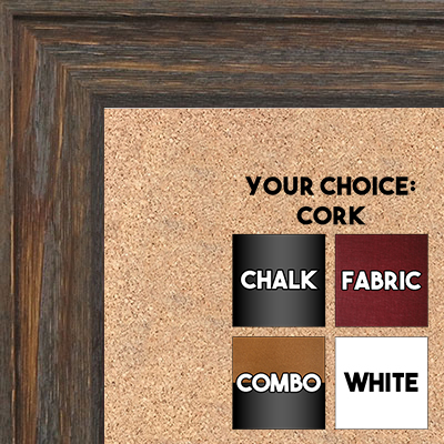 BB1512-2 Gray Distressed Barnwood - Large Wall Board Cork Chalk Dry Erase