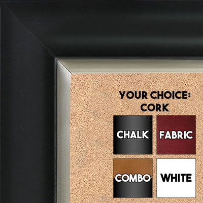 BB1521-2 Black With Silver Trim Extra Large Wall Board Cork Chalk Dry Erase