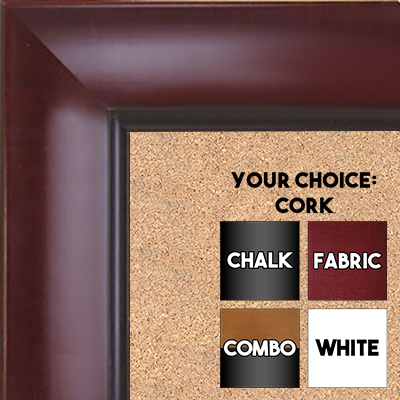 BB1525-3 Walnut - Extra Large  Wall Board Cork Chalk Dry Erase