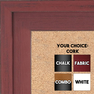 BB1534-4 Distressed Red  - Extra Large Custom Cork Chalk or Dry Erase Board