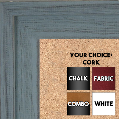 BB1534-6 Distressed Blue Gray - Extra Large Custom Cork Chalk or Dry Erase Board