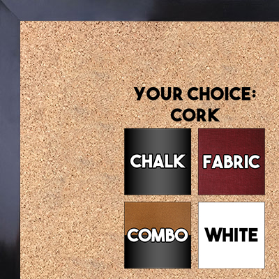 BB1540-16 Thin Metal Bright Black Custom Cork Chalk or Dry Erase Board Small To Large