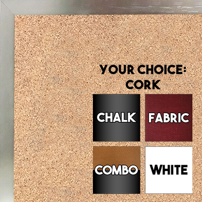 BB1540-2 Thin Metal Brushed Nickel Custom Cork Chalk or Dry Erase Board Small To Large