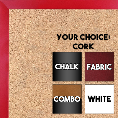BB1540-7 Thin Metal Ruby Red Custom Cork Chalk or Dry Erase Board Small To Large