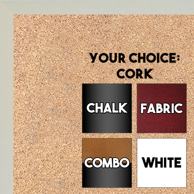 BB1540-8 Thin Metal Bright White Custom Cork Chalk or Dry Erase Board Small To Large