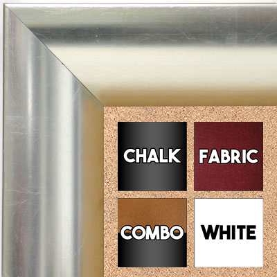 BB1659-2  Distressed Silver | Custom Cork Bulletin Board | Custom White Dry Erase Board | Custom Chalk Board