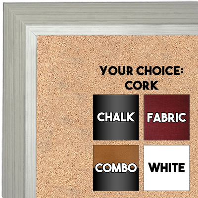 BB1661-2 | Silver | Custom Cork Bulletin Board | Custom White Dry Erase Board | Custom Chalk Board