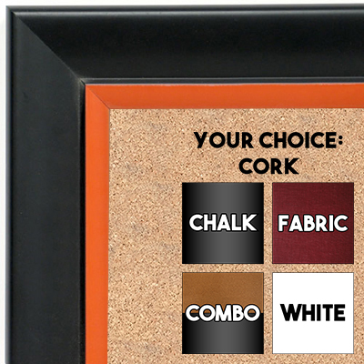 BB1690-3 | Black / Orange | Custom Cork Bulletin Board | Custom White Dry Erase Board | Custom Chalk Board