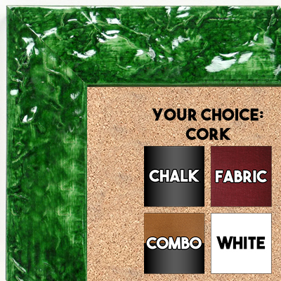 BB1692-3 | Glossy Green / Design | Custom Cork Bulletin Board | Custom White Dry Erase Board | Custom Chalk Board