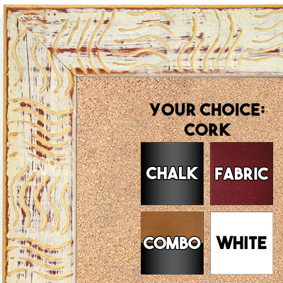 BB1702-2 | White / Cream / Design | Custom Cork Bulletin Board | Custom White Dry Erase Board | Custom Chalk Board