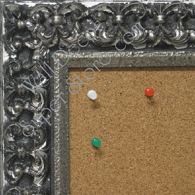 BB1769-4 | Silver / Black / Ornate | Custom Cork Bulletin Board | Custom White Dry Erase Board | Custom Chalk Board