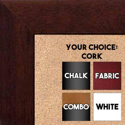 "BB1845-5 Rich Walnut 1 3/4"" Wide Value Price Medium To Extra Large Custom Cork Chalk Or Dry Erase Board"