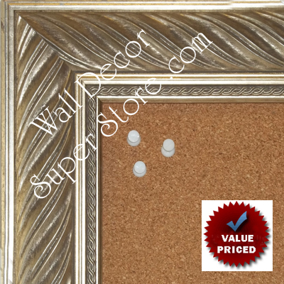 "BB1857-1 Ornate Distressed Silver Leaf 2 1/2"" Wide Value Priced Medium To Extra Large Custom Cork Chalk Or Dry Erase Board"