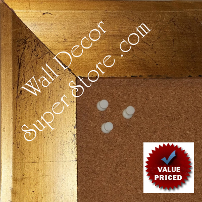 "BB1858-1 Distressed Gold Leaf Shallow French Scoop 2 1/2 "" Wide Value Priced Medium To Extra Large Custom Cork Chalk Or Dry Erase Board"