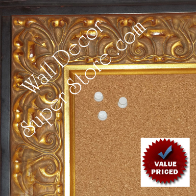 "BB1860-1 Ornate Gold Leaf With Black Trim 2 3/4"" Wide Value Priced Medium To Extra Large Custom Cork Chalk Or Dry Erase Board"