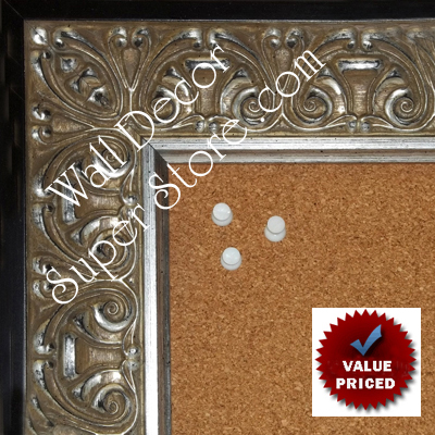 "BB1860-2 Ornate Silver Leaf With Black Trim  2 3/4"" Wide Value Price Medium To Extra Large Custom Cork Chalk Or Dry Erase Board"
