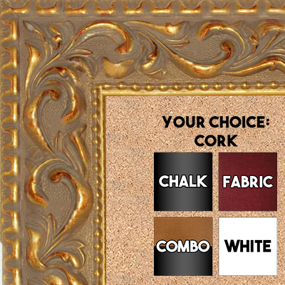 "BB1862-1 Ornate Venetian Gold 2 3/4"" Value Price Medium To Extra Large Custom Cork Chalk Or Dry Erase Board"