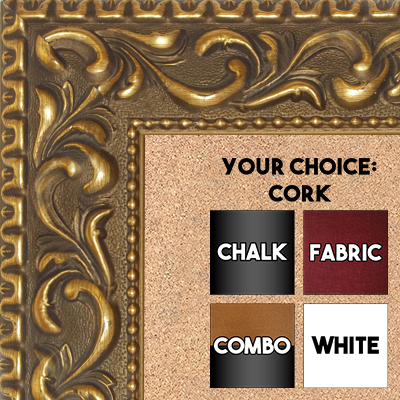 "BB1862-2 Ornate Dark French Gold Gold 2 3/4"" Value Price Medium To Extra Large Custom Cork Chalk Or Dry Erase Board"
