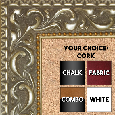 "BB1862-3 Ornate Satin Nickel With Gold Gold 2 3/4"" Value Price Medium To Extra Large Custom Cork Chalk Or Dry Erase Board"
