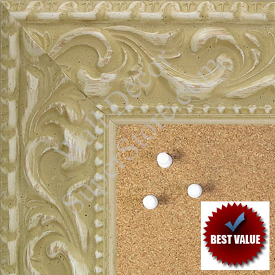 "BB1862-5 Ornate Antique White With Gold 2 3/4""Value Priced Medium To Extra Large Custom Cork Chalk Or Dry Erase Board"
