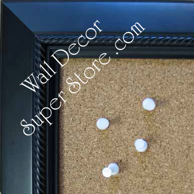 BB208-1 Satin Black With Rope Design Medium To Extra Large Custom Cork Chalk Or Dry Erase Board